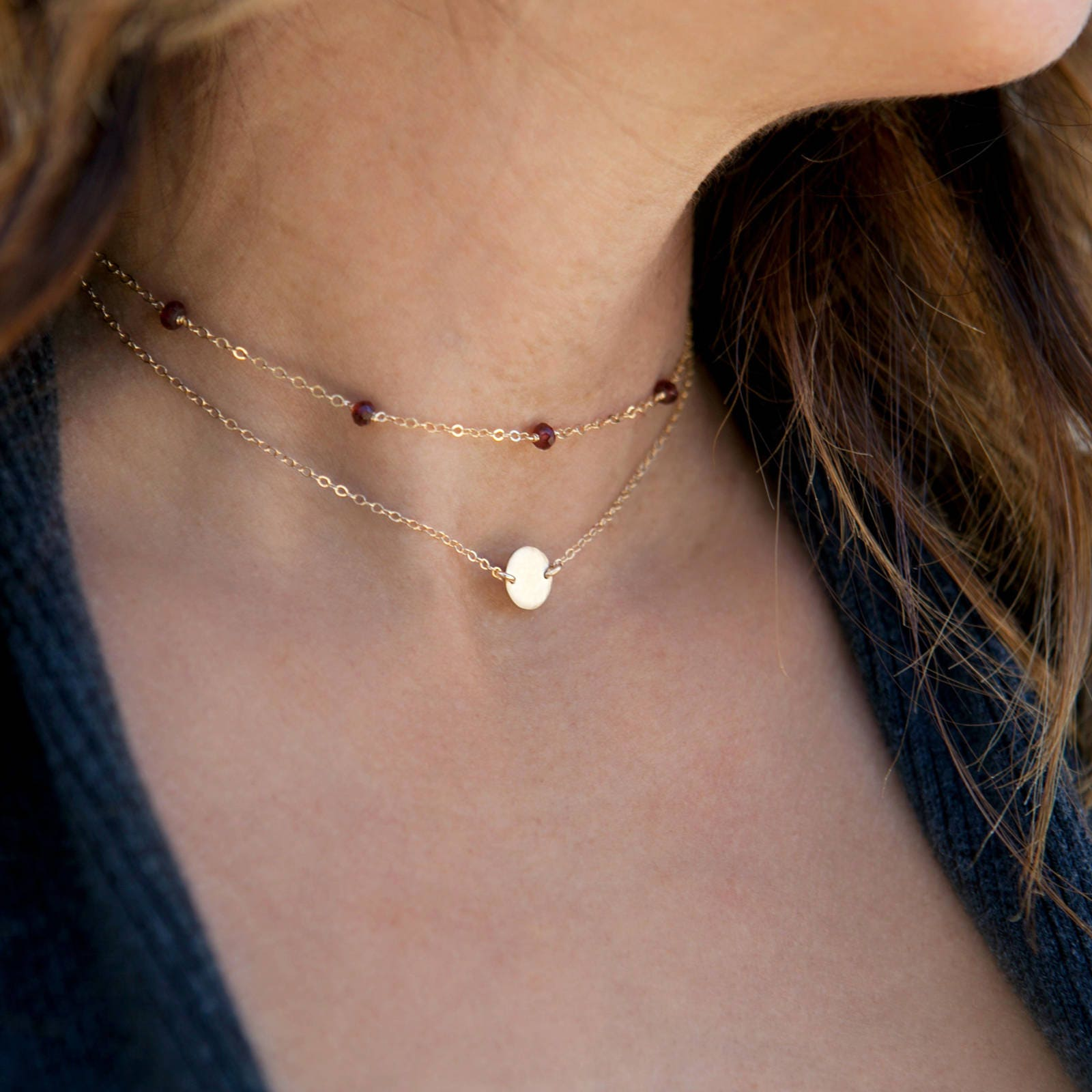 9d8f36f89e91e Birthstone Choker Necklace, Dainty Gold Necklace, 14k Gold Fill, Sterling  Silver, Simple Choker Necklace, LEILAjewelryshop, N242