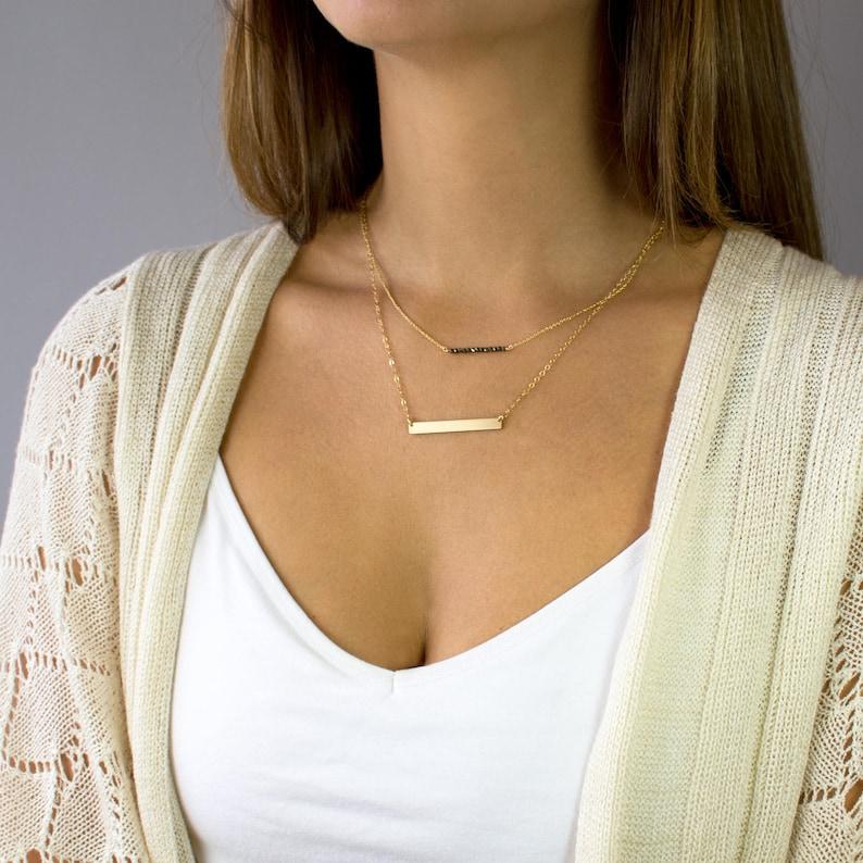 Bead Necklace Mini Gemstone Bar Necklace Dainty Bead image 0