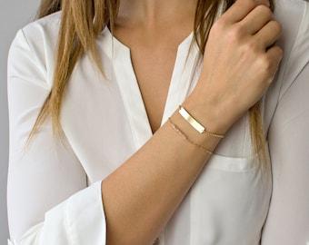 Nameplate Bracelet, Gold Bar Bracelet, Personalized Bar Bracelet, Gold Fill, Sterling Silver, Rose Gold, Wedding Gift, Gifts for Her