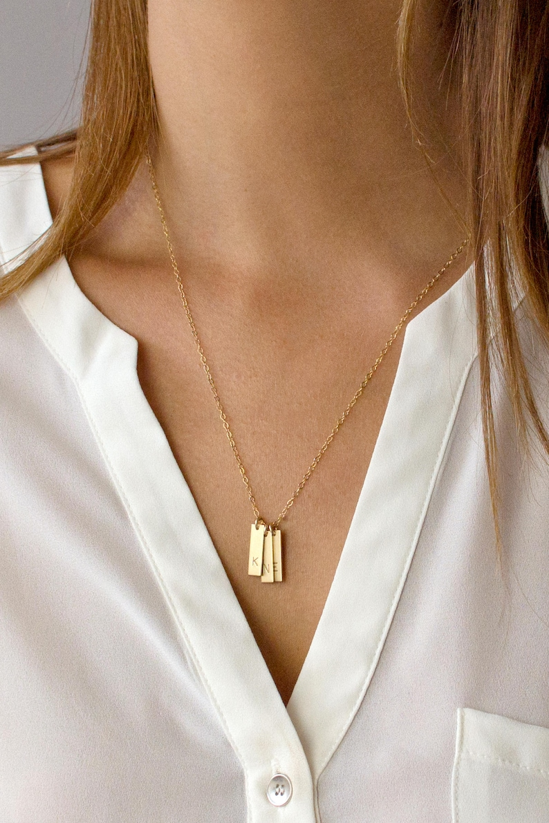 Vertical Bar Necklace Personalized Initial Bar Necklace Gold image 0