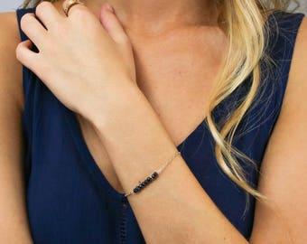 Beaded Bar Bracelet, Birthstone Bracelet, Delicate Gemstone Bracelet, Thin Bracelet Bar, 14k Gold Fill,Sterling Silver,LEILAjewelryshop,B205