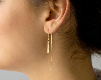 Long Chain Earrings,Threader Earrings,Dainty Gold Bar Threader Earrings,Long Dangle Earrings,Sterling Silver, 14k Gold Fill,LEILAJewelryshop