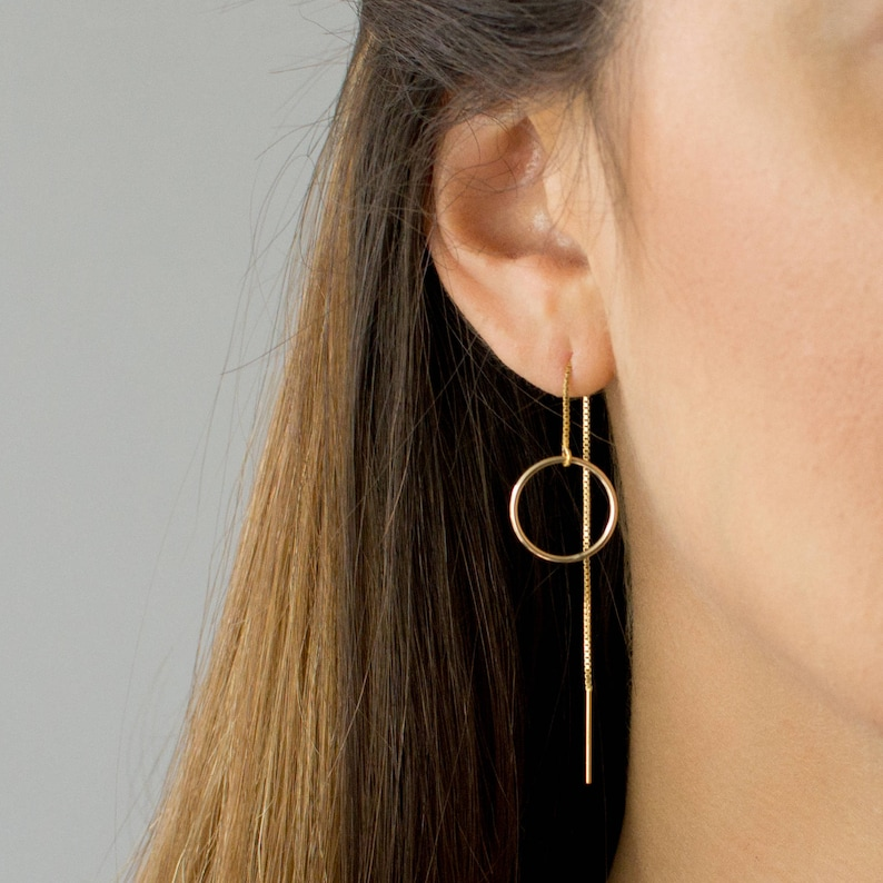 Circle Threader Earrings Long Dangle Earrings Dainty image 0