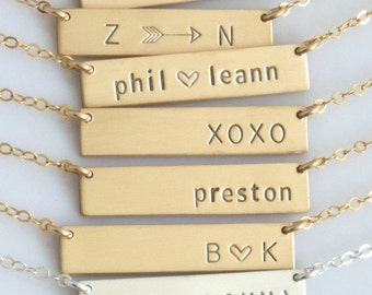 Custom Name Plate, Custom Name Necklace, Personalized Name Bar Necklace, Silver Name Bar, Gold Bar Initial Necklace, Mothers Day Gift,N286