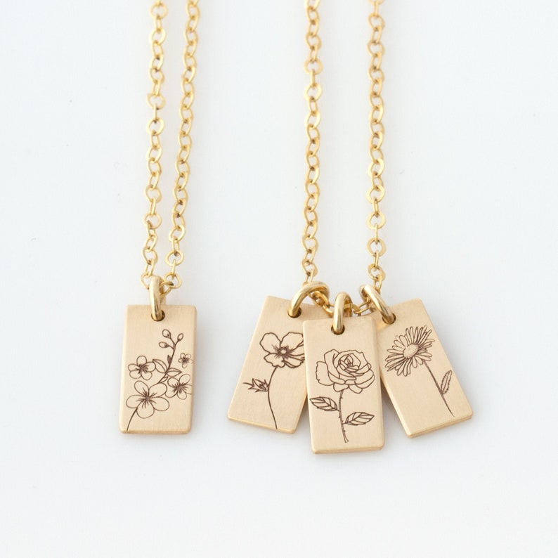 Personalized Birth Flower Necklace