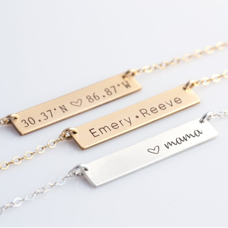 79937927ffc Personalized Bar Necklace, Personalized Nameplate Necklace, Gold Bar  Necklace for Her, Gift for Her, Gold Silver Bar, Friend Holiday Gift