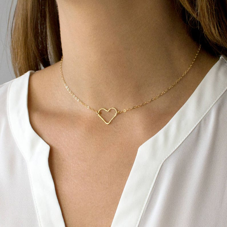 888578d8ed6f9 Hammered Gold Heart Necklace, Dainty Heart Necklace, Heart Choker, 14k Gold  Fill, Sterling Silver, Gift for her, LEILAjewelryshop, N200