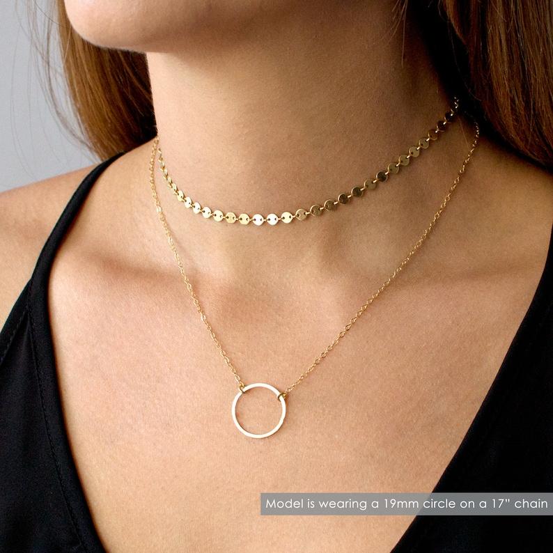 Hammered Gold Circle Necklace Minimalist Necklace Circle image 1
