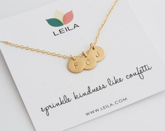 Gold Disc Initial Necklace/ Custom Initial Disc/Letter Necklace/Gift For Grandma/ Gift For Nana/ Gift For Mom/ Gift forWife/ Grad Gift/ N276