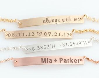 Nameplate Bracelet / Skinny Bar Bracelet / Personalized Jewelry / Initial Gold Bracelet / Sterling Silver / Wedding Gift / Bridesmaid Gift
