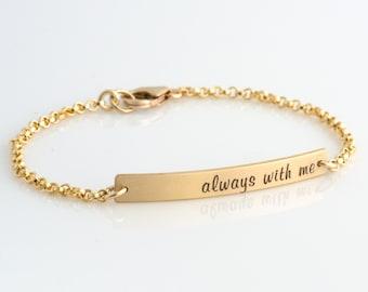 Personalized Bar Bracelet, Engraved Bracelet, Skinny Bar Bracelet, Bar Bracelet Personalized, Bridesmaid Gift for Her, LEILAJewelryShop