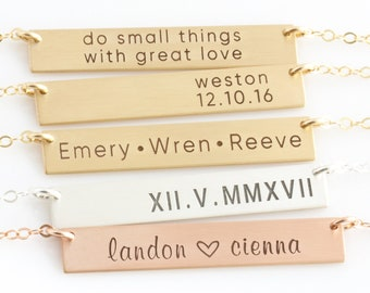 Personalized Bar Necklace/ Bar Necklace/Gold or Silver Custom Name Plate/Initial Necklace/Roman Numeral/Mom Necklace/LEILAjewelryshop
