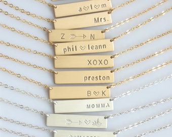 Gold or Silver Name Bar/ Bar Necklace Personalized/ Personalized Handstamped Jewelry/ Gift for Her/ Name Bar Necklace/Initial Necklace