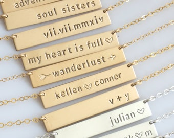 Personalized Bar Necklace/Hand Stamped Bar Necklace/Gold or Silver Custom Name Plate/Initial Necklace/Roman Numeral/LEILAjewelryshop