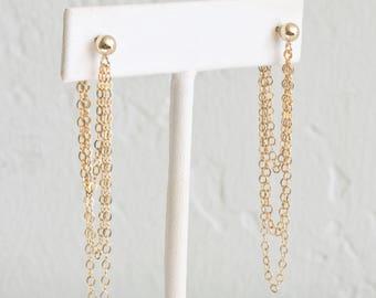 Gold Chain Drop Earrings, Dainty Chain Earrings, Long Dangle Earrings for Women, Sterling Silver, 14k Gold Fill, LEILAJewelryshop, E205