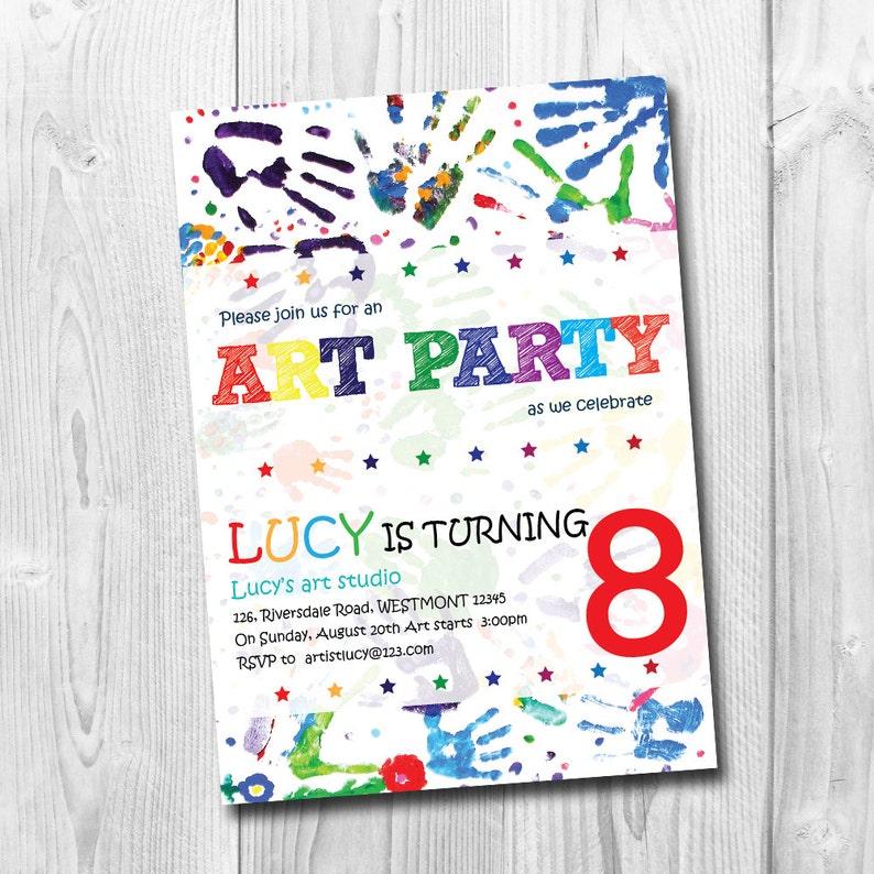 Kids Art Party Invitation Birthday Drawing