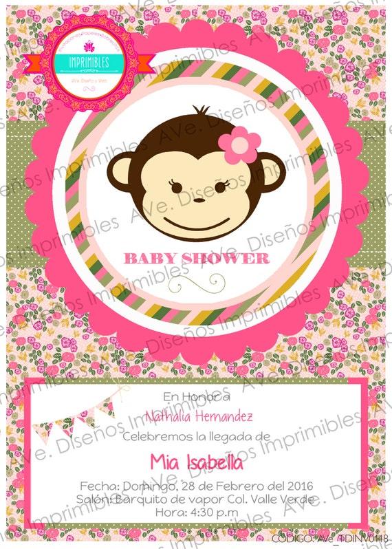 Invitaciones De Changuita Para Baby Shower Invitaciones De Etsy