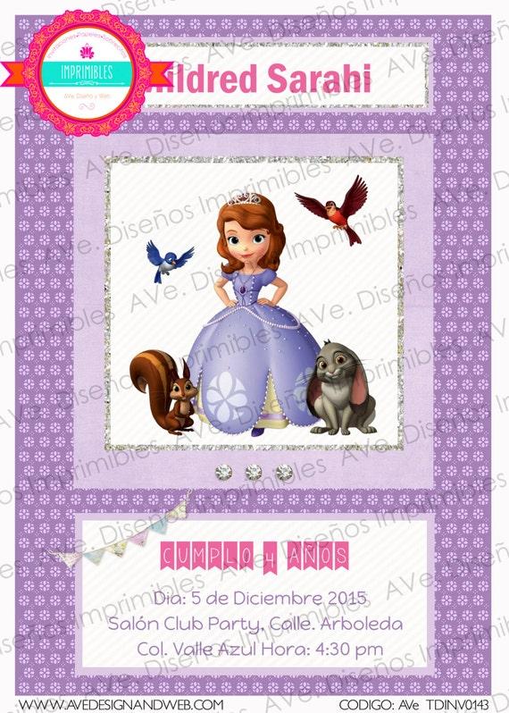 Princesa Sofia Invitaciones Invitaciones De Cumpleaños Princesa Sofia Princesa Sofia Fiesta De Cumpleaños Sofia The First Invitations