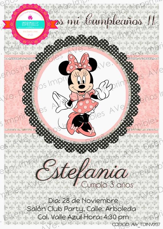 Mimi Mouse Invitaciones De Cumpleaños Minnie Mouse Invitaciones Para Cumpleaños Mimi Rosa Y Platadeado Fiesta De Cumpleaños