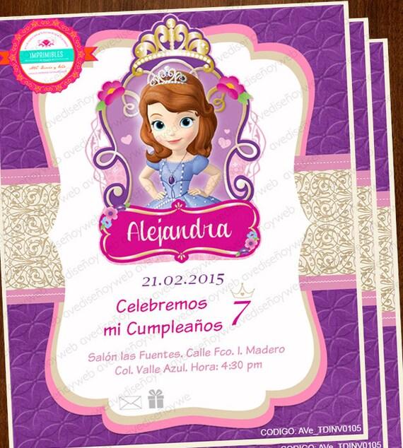 Invitaciones Princesa Sofia Invitaciones Editables Invitaciones Sofia The First Disney Princesa Sofia