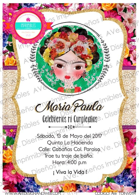 Matrimonio Tema Frida Kahlo : Frida kahlo invitaciones fiesta mexicana etsy