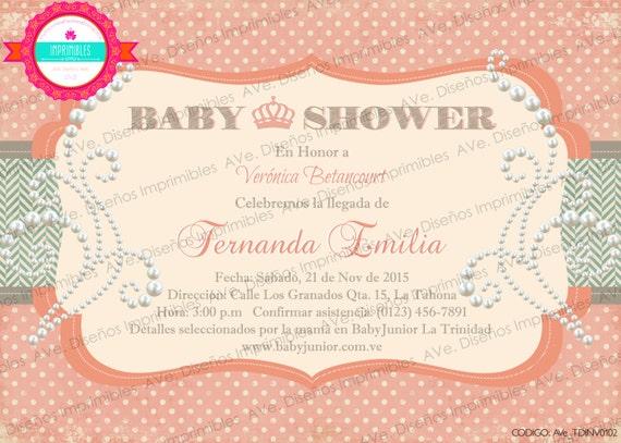 Invitaciones Para Baby Shower Vintage Invitaciones Vintage Etsy