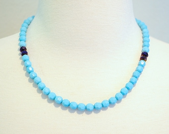 Light blue statement necklace with Iris blue accent beads