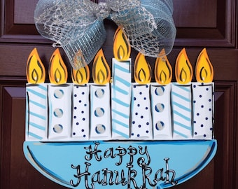 Hanukkah Door Hanger,Menorah door hanger, Hanukkah wreath Jewish art, Jewish door hanger