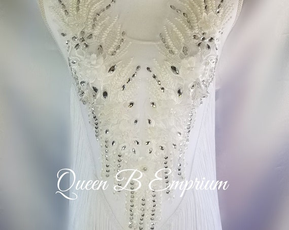 Sexy Silver White Crystal Beaded Shiny Sparkly Party Open Back Fringed Party Leotard bodysuit Rave Dress