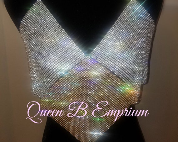 Luxurious Sparkling Rhinestone Silver & Gold Crop Top