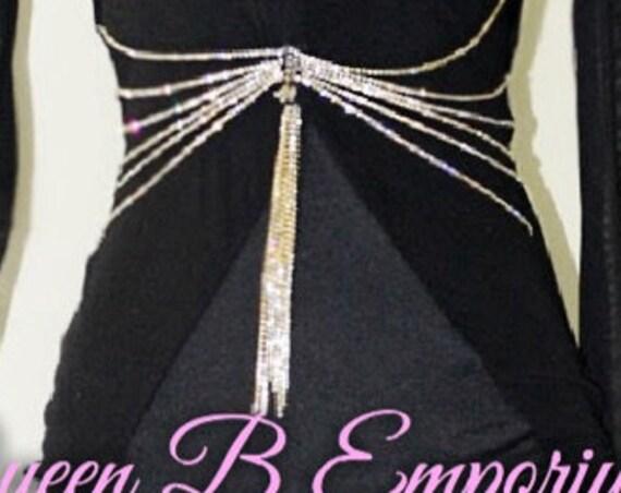 Classy Gold & Black Rhinestone Mesh Cocktail Dress