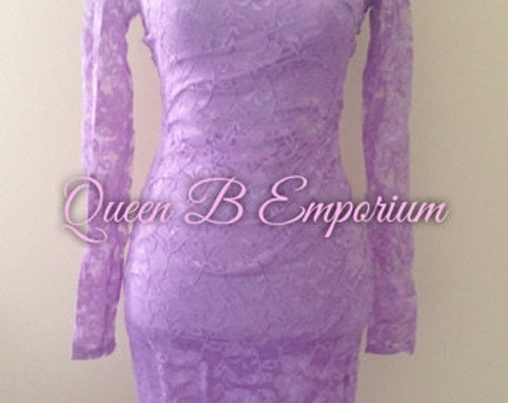 lavender Lace Keyhole Back Bodycon Cocktail Classy Dainty Sexy Midi Dress