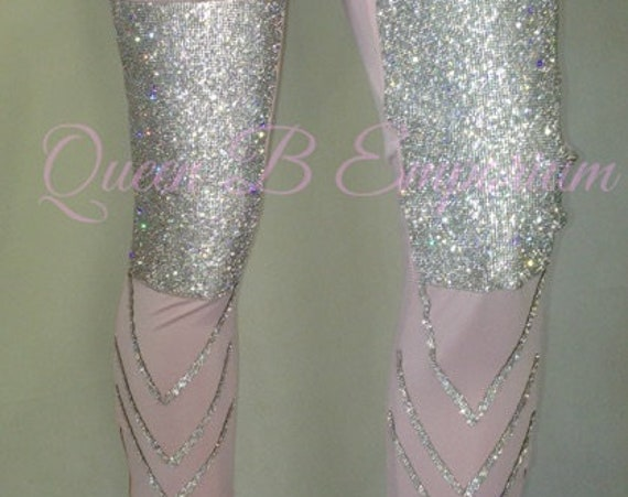 luxury Pink High Waisted Diamond Rhinestone Crystal Shiny Silk Iced Out high Quality Queen B Emporium Clubwear Leggings Sexy Pants Size M,L