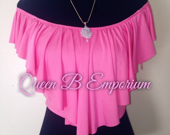 Classy Pink Off Shoulder Stretchy Flowing Ruffled Clubwear Cocktail Crop Top