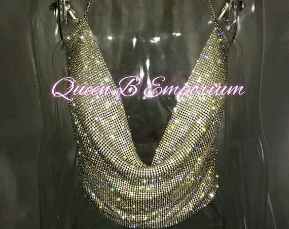 Luxurious Sparkling Rhinestone Silver or Gold Crop Top