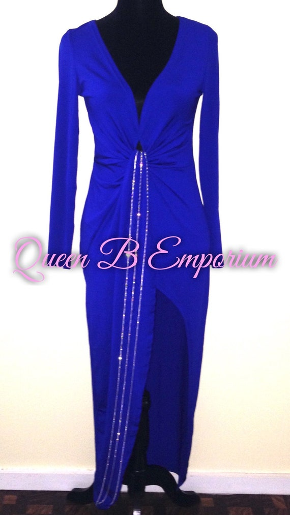 Classy Crystal Rhinestone Royal Blue Luxury Empire Waisted Cascading Evening Formal Maxi Dress