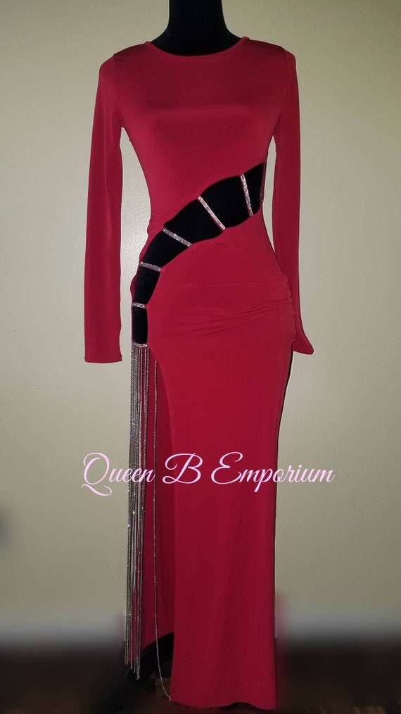 Classy Red Royal Cut Out Crystal Swarovski Waisted Sexy long Evening Maxi Dress