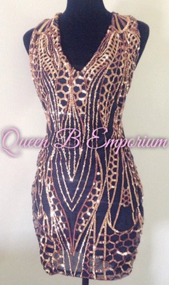 Crystal Gold Sequin Classy Dress Clubwear Outfit Cocktail Clubwear Queen B Emporium Diamond Quality Royal Iced Out Wear