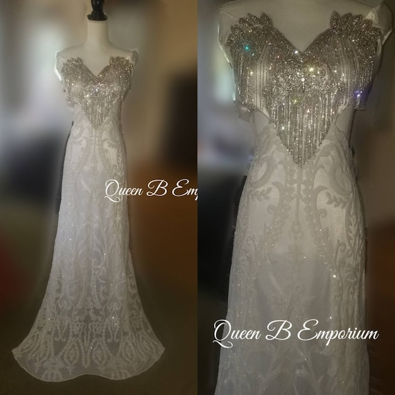 White and Silver Silk Sparkling Crystal  Evening Gown Dress