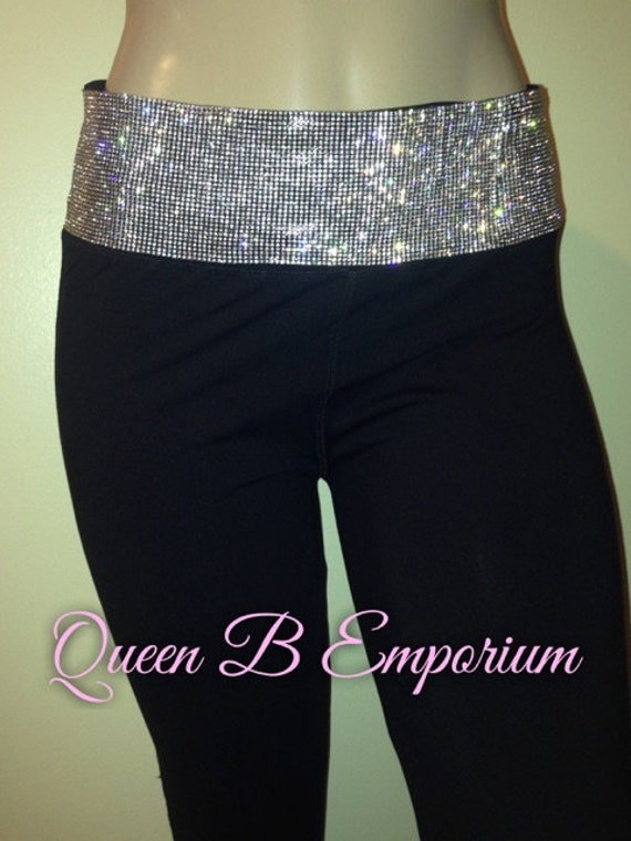 Black Luxury Crystal Rhinestone Diamond Wide Waistband iced Out Sparkly Clubwear Party Leggings Queen B Emporium Cocktail Pants Sizes S-L