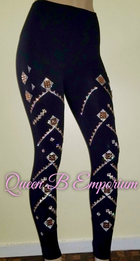 Limited Edition Black Luxury Crystal Aztec Rhinestone Diamond Wide Waistband Leggings