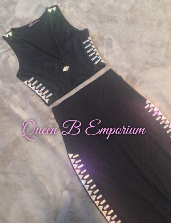 Two Piece Crystal AB Rhinestone Classy Black Dress