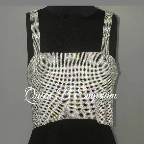 Luxurious Sparkling Rhinestone Silver or Gold Crystal Crop Top