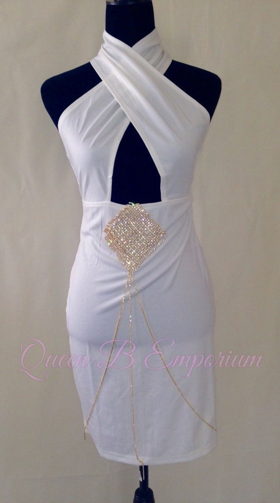 Classy Gold Halter Neck V-Neck Stretch Crystal Rhinestone Diamond Midi Clubwear Cocktail Dress M Queen B Emporium