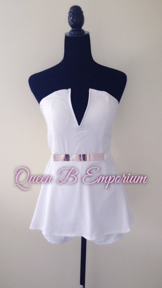 White Ivory Gold Belted Cute Sexy Mini V-Neck Zip Up Back Bodycon Romper Queen B Emporium