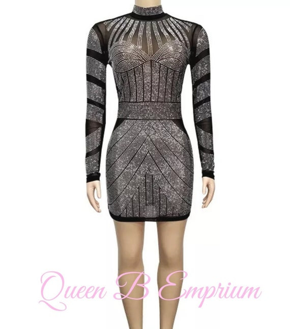 Luxury Crystal See Through Classy Black Dress Clubwear Cocktail Queen B Emporium Diamond Quality Royal Luxury Outfit