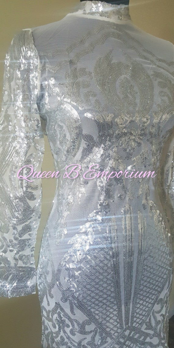 Luxury Crystal See Through Classy White Dress Clubwear Cocktail Size M Queen B Emporium Diamond Quality Royal Luxury Outfit