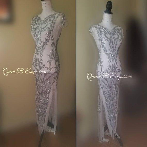 White and Silver Mesh Sparkling Crystal Sequin Fringe Evening Gown High Low Prom Gown Party Dress