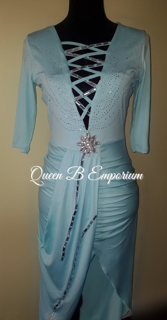 Designer Sexy Silver Rhinestone Swarovski Crystal Shiny Sparkly Light Blue Party Maxi Empire Waist Dress