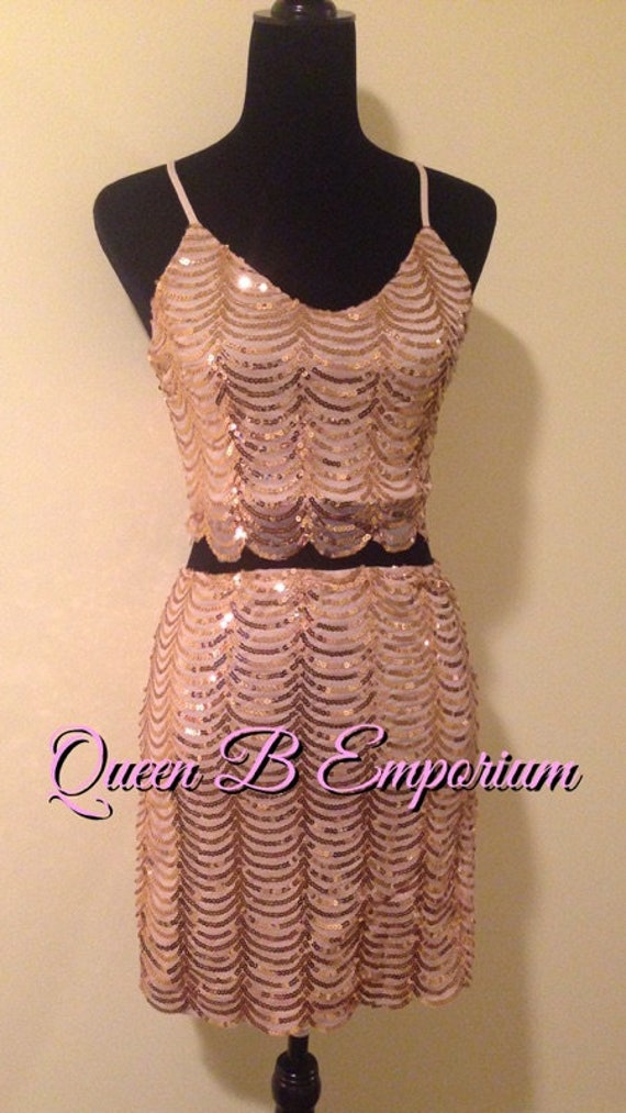 Two Piece Crystal Gold Sequin Classy Dress Clubwear Outfit 2 Piece set Size M Medium Queen B Emporium Diamond Quality Royal Outfit